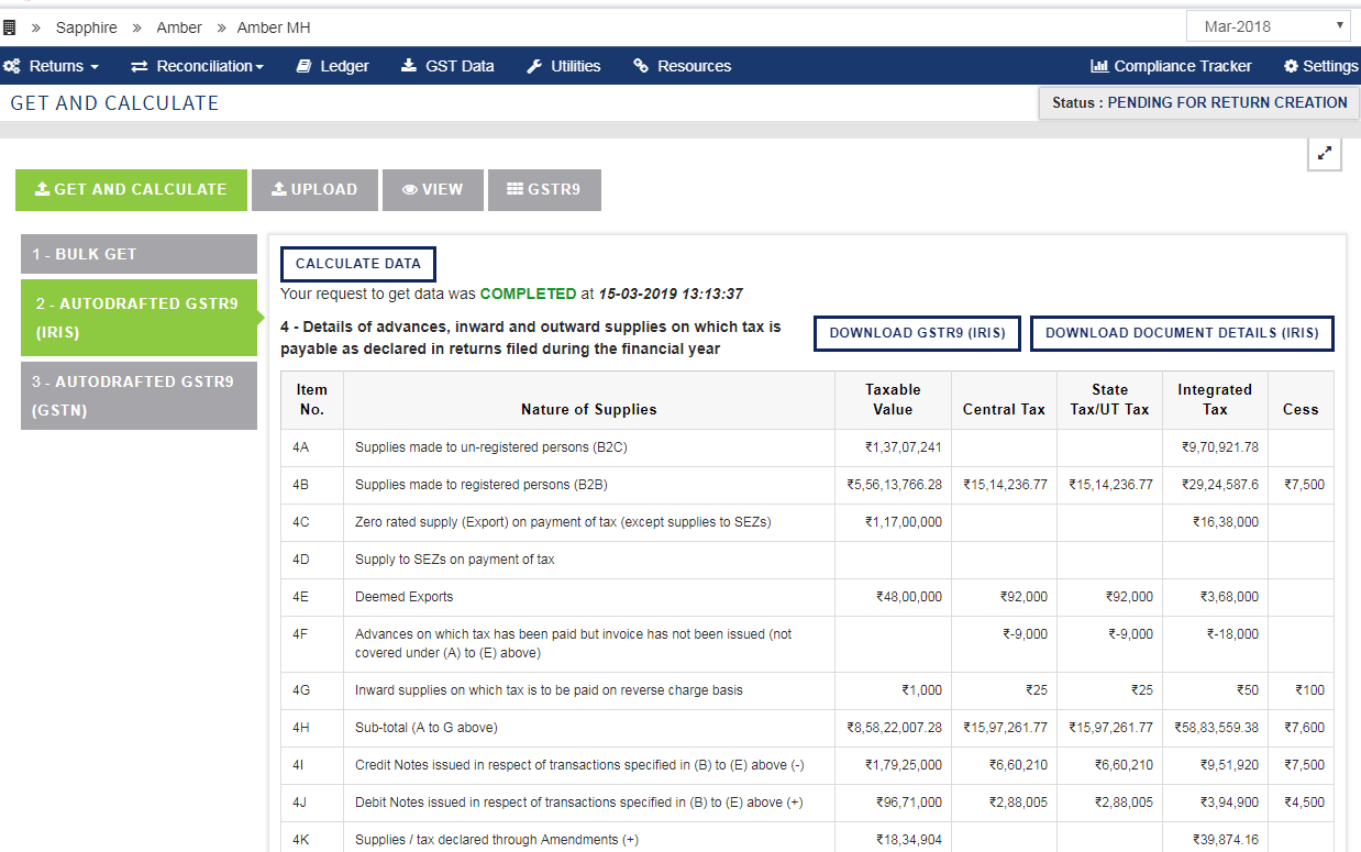 Screenshot of sapphire 12Issue Auto drafted GSTR 9 summaries