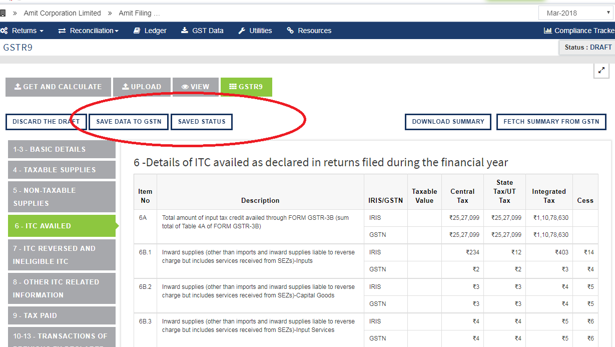 Image for newletter Jun-19 issue 117Issue 1 screenshot of sapphire GSTR 9 Updates-Save to GSTN