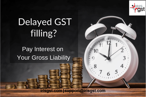 Delay in GST returns filling Interest is payable on gross liability