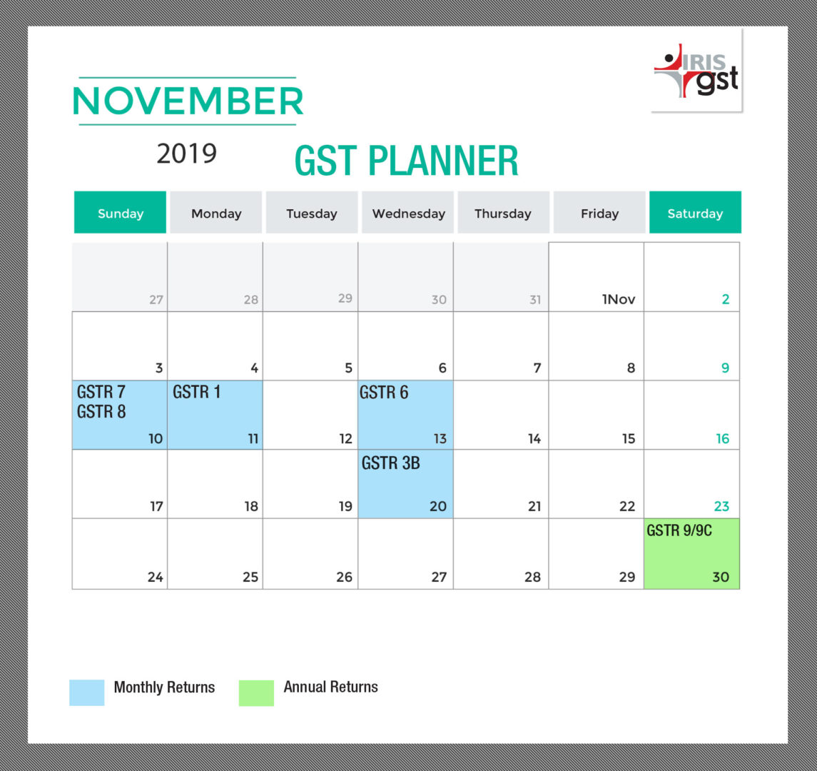 GST Compliance Calender for the month of Nov 2019